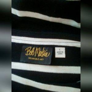 Bob Mackie Tops - Bob Mackie Top Sz L Black Stripes 3/4 Sleeves